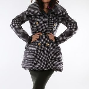 JUICY COUTURE Black White Puffer Down Coat Jacket